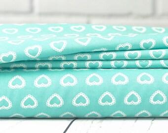 First Romance Fabric - Blue Heart Fabric - Pretty By Hand Fabric - Moda Fabric - Heart Fabric - Sold by Half Yard