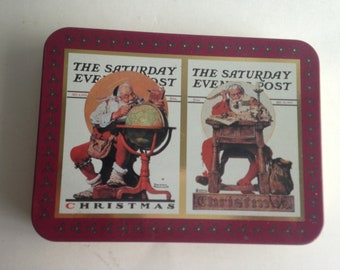 Norman Rockwell Playing Cards 2 Decks Tin Can Christmas Saturday Evening