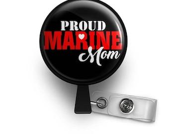 Proud Marine Mom Retractable ID Badge Reel