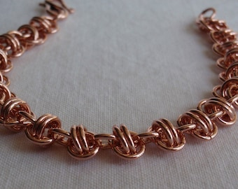 Raw Copper Chain Maille Barrel Weave Bracelet 7 Inch Hand Made Artisan