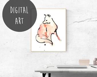 Printable Wall Art, Instant Poster Download, Modern Decor, Minimal, Housewarming gift, Animal Lover Gift, Fox Print, Nursery Art Animals.