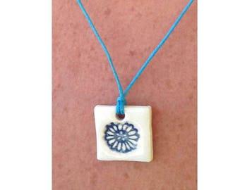 Ceramic white and blue slip collar