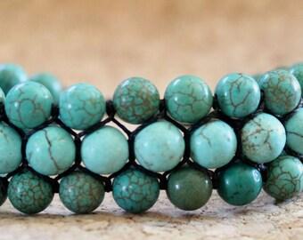 Shades of Turquoise Cobblestone Charlotte's Web Shamballa Bracelet
