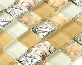 Glass Resin with Conch Tile Backsplash Crackle Crystal Mosaic Shells Matte Glass Bathroom Tiles for Wall and Floor