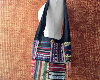 Boho Trippy Crossbody Hobo Sling Hippies Patchwork bag Bohemian Tribal Aztec festival style Fashion Diaper Tote Woven bag gift for him her 3