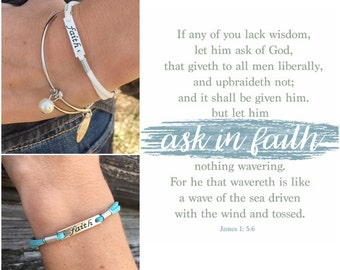 LDS YW Theme 2017 Ask In Faith Bracelet James 1: 5-6 2017 Mutual Theme