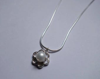 Flower Pearl Necklace, Sterling Silver, Medium Snake Chain, Freshwater Cultured Pearl Charm Jewelry