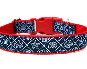 "Nautical Dog Collar 1"" Beach Dog Collar"