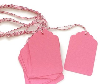 Pink Paper Tags and String Pink Baby Shower, Blank Gift Tags Wedding Favors, Set of 25