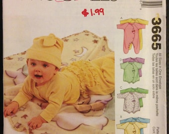 McCalls 3665 Baby's Bodysuit, Pants, Diaper Cover, Booties and Accessories for Stretch Knits - Size 8 to 21 Pounds