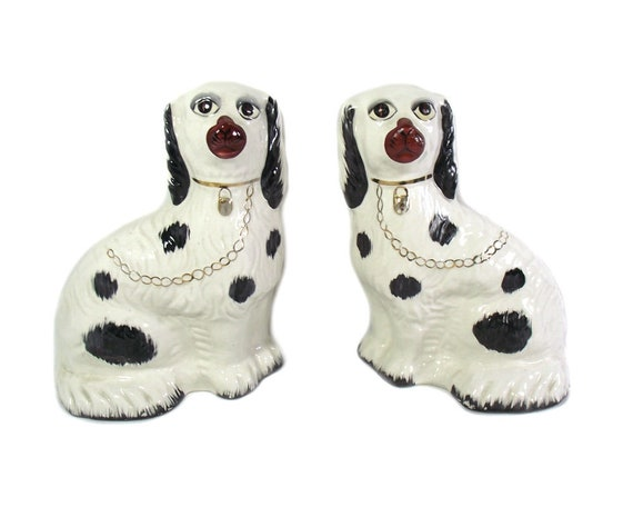 Pair of Vintage Reproduction Staffordshire Wally Dogs