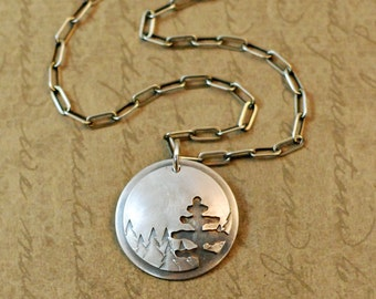 Sterling silver, necklace, pendant, sawed, soldered, trees, nature, mountain, camping, hiking, outdoors, handcrafted oxidized, rustic, chain
