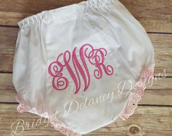 Monogrammed infant bloomers pink or white eyelet lace ruffled diaper cover