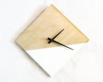 Unique Wall Clock, Modern Home Decor,  White and Wood Clock, Home and Living, Decor and Housewares