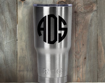 RTIC 20 oz/30 oz Tumbler/Personalized/Double Wall Stainless Steel/Circle/Double Circle/Monogram/Father's Day Gift/Fast Shipping/Gift for Him