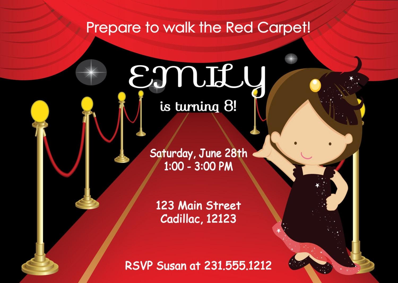 Kids Birthday Invitation Girls Red Carpet Birthday Party