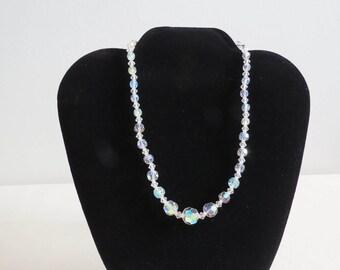 "40s 50s Vintage Crystal Bead Necklace - Aurora Borealis - Midcentury Costume Jewelry 16"" Wedding Bridal"