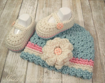 Baby Girl Crochet Hat and Mary Jane Shoes, Seafoam and Pink