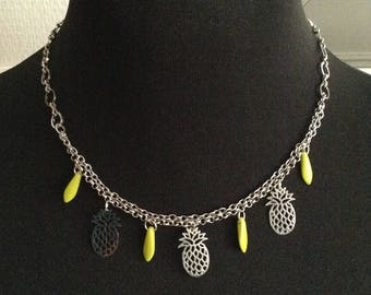 Pineapple and Pearl enamel charm necklace