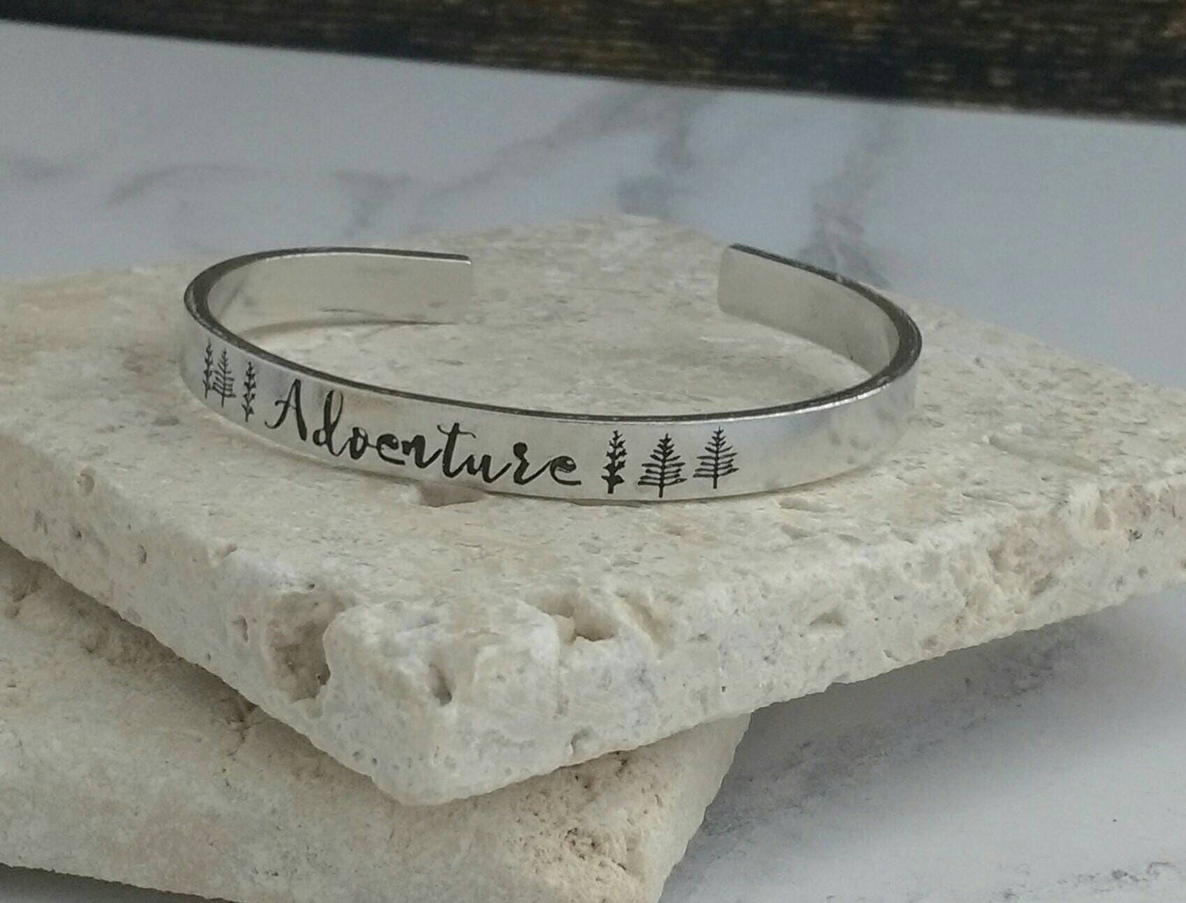 Adventure bracelet - hiking - travel - walking jewellery - adjustable - handstamped - unisex