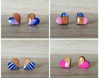 earrings, stud, stud earings, heart, heart earrings, wood, jewelry, wood earrings,  gift, summer, minimalist,Bridesmaid Gift, mothers day