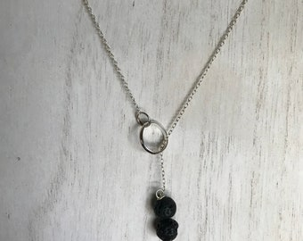 Sterling Silver Aromatherapy Lava Lariat Necklace
