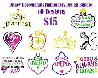 Disney Descendants Embroidery Design Bundle,10 Designs