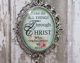 I Can Do All Things Through Christ Phil 4:13 Vintage Rose Glass Filigree Pendant Necklace With Silver Cross Charm