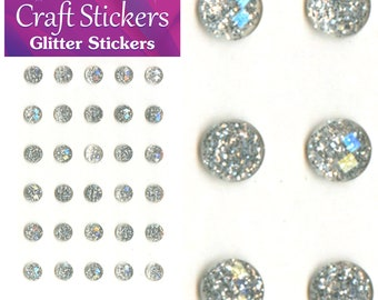 Silver Self Adhesive Glitter Stickers Faceted Gems 4mm or 8mm Craft Embellishments