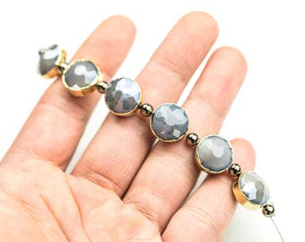 14mm Bezel Wrapped Gray Moonstone Coin Crystals - Gunmetal or Gold Wrapped 6pcs / Strand