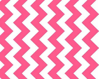 Neon Pink Chevron Cotton Fabric by the Yard or Half Yard Fabric or fat quarter,  Chevron Cotton Fabric, Floral Fabric,  Quilting Fabric