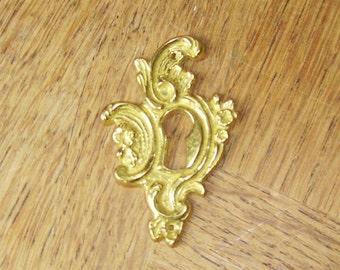 Vintage French Brass Keyhole Escutcheon Hardware