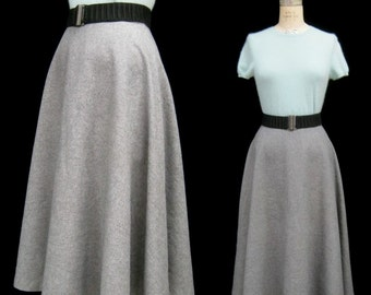 "Vintage 50s 60s Classic Gray Wool FLANNEL Swing SKIRT 1/2 Circle VLV Rockabilly Preppy Costume  Waist: 29"" Medium"