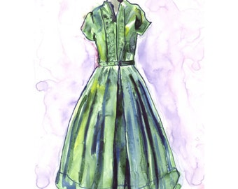 Fashion Art Print - Green Vintage Dress - Watercolor Art Print, 8x10 Wall Art