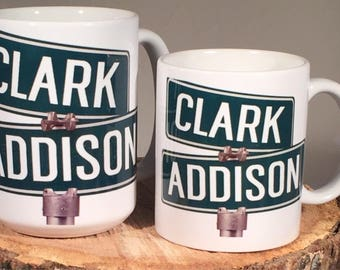 Chicago Cubs Baseball Clark and Addison Street sign Coffee Mug/Cup 11 or 15 ounce size Wrigley Field World Series