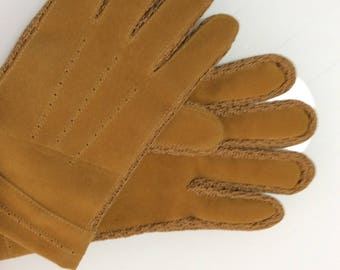 1960 vintage men's gloves / winter-lined faux suede gloves like new