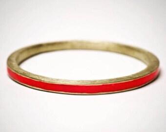 Brass Bracelet with red resin