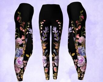 Fall colors, dusty pastels, black leggings, yoga pants, watercolor flowers, floral leggings, purple and gold, boho leggings, gypsy pants