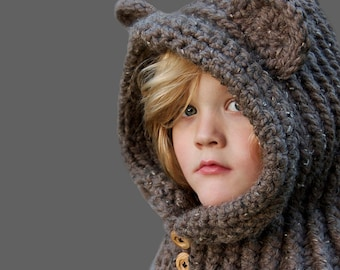 Crochet PATTERN - Hooded Bear Cowl Crochet Hood Pattern Includes Sizes 1 Year to Adult
