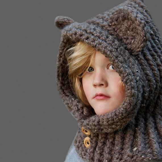 Crochet Pattern Hooded Bear Cowl Crochet Hood Pattern