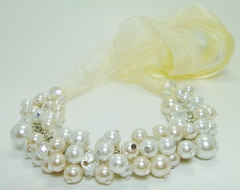 white & Ivory Pearl Necklace, Pearl Bib Necklace, ivory Ribbon Necklace, Pearl Cluster Necklace, Chunky Necklace, Pearl Necklace, FREE SHIP