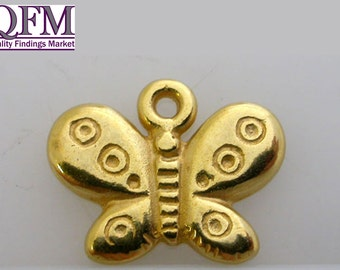 12 pcs Butterfly Pendant (with dots) in Pewter (14x11mm).