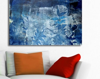 Blue painting modern fine art teal home decor abstract landscape painting FREE SHIPPING