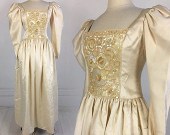 Vintage 1980s Lillie Rubin FORMAL DRESS prom wedding Ivory Champagne with Gold & Silver beads sequins Victorian Edwardian S M designer 80s