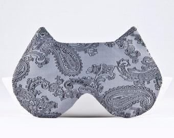 Gray Sleep Mask, Light Blocking Eye Mask, Vacation Accessories, Paisley Sleep Mask, Slumber Party Mask, Cat Lover Gift, Cat Sleep Mask