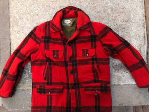 Carter's wool buffalo plaid field jacket, size 38, made in USA workwear
