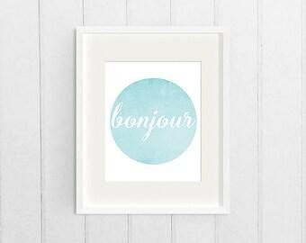 French Circle Wall Art, Blue Watercolor Printable Graphic Print, Bonjour Dorm Decor Print, College Digital Art Download, Printable Poster