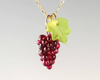 Glass Red Grape Necklace lampwork bead jewelry hand blown glass art birthday gift, Mother's Day gift for wine lover, cook, gardener