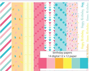 Happy Birthday Party Digital Paper Set - Instant download PNG files - 12 x 12 paper