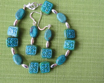 Blue picasso tile bracelet with matching earrings